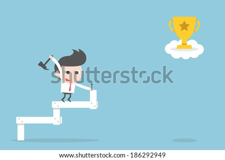 businessman making stairs up to trophy - stock vector