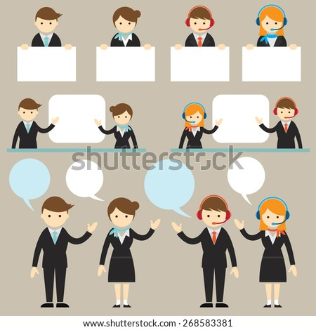 Businessman Male and Female Show Presentation with Copy Space Frame, Flat Design of Business Marketing, Success and Achievement - stock vector
