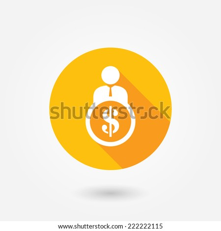 Businessman, man, person with dollar sign. Flat icon with long shadow - stock vector