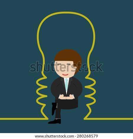 Businessman meditating - stock vector
