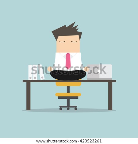 meditation businessman office. businessman meditation in office yoga at job young man relaxing lotus position on d