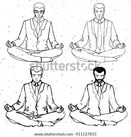 Businessman meditation, vector businessman silhouette, business man meditating in lotus - stock vector