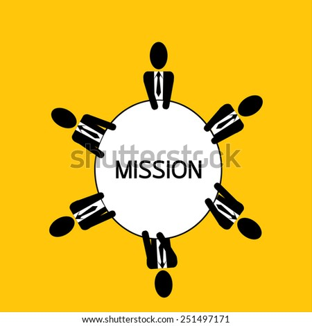 businessman meeting : man plan mission for business on yellow background vector : business concept - stock vector