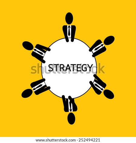 businessman meeting : man plan strategy for business on yellow background vector : business concept - stock vector