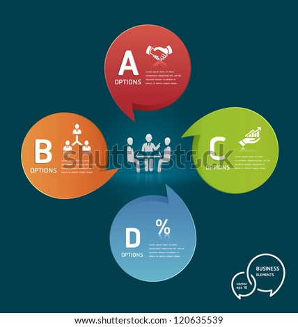 Businessman meeting with Colorful Speech Bubble Options Banner template. Vector illustration - stock vector