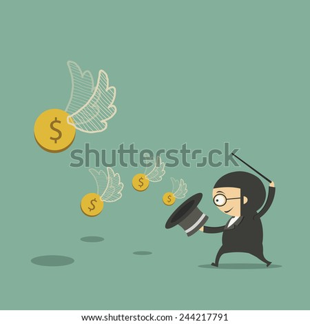Businessman money flying out of the magic hat.vector - stock vector