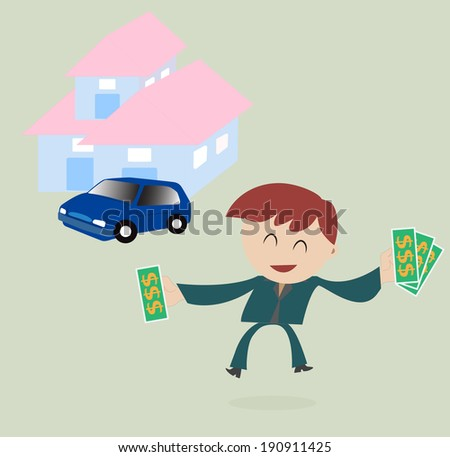 Businessman money in hand  with car and house