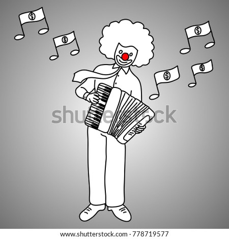 Businessman Musician With Joker Face Playing Piano Accordion Vector Illustration Doodle Sketch Hand Drawn Black