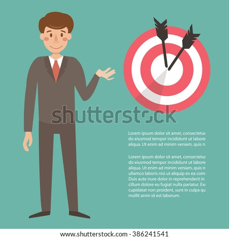 Businessman near the target. Vector isolated illustration. Cartoon character. Place for text