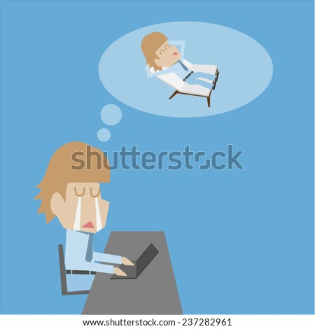 Businessman need holiday - stock vector