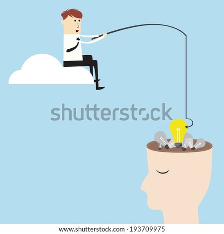 Businessman needs a good idea, vector design - stock vector