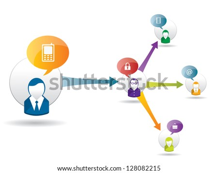 Businessman of leadership in business through communication and relationship - stock vector