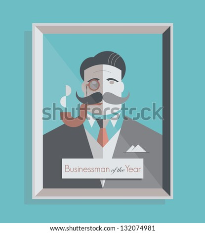 Businessman of the Year. Old school stylish businessman with a monocle and smoking pipe. Vintage style illustration. - stock vector