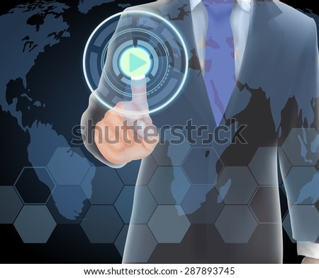 Businessman of visual touch screen. vector