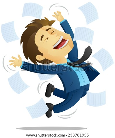 Businessman / Office Worker jumping in joy - Celebrating	 - stock vector