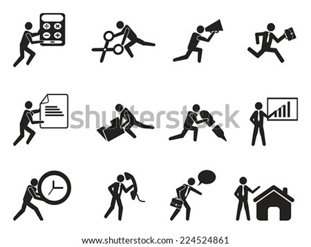 businessman office working man icons set - stock vector