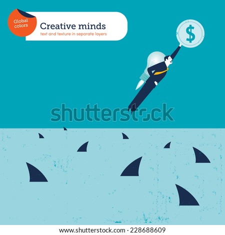 Businessman on a bulb rocket flying to save the dollar from sharks Vector illustration Eps10 file. Global colors. Text and Texture in separate layers. - stock vector