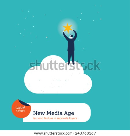 Businessman on a cloud getting a star. Vector illustration Eps10 file. Global colors. Text and Texture in separate layers. - stock vector