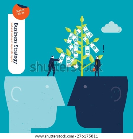 Businessman on a head stealing money from a money plant. Vector illustration Eps10 file. Global colors. Text and Texture in separate layers. - stock vector