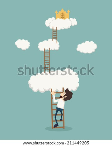 Businessman on a ladder above the clouds looking golden castle , eps10 vector format - stock vector
