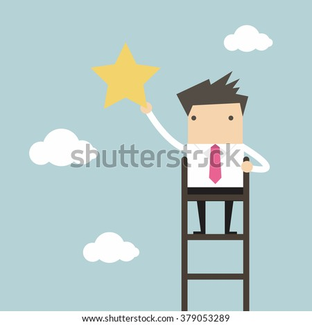 Businessman on a ladder grab star in the sky - stock vector