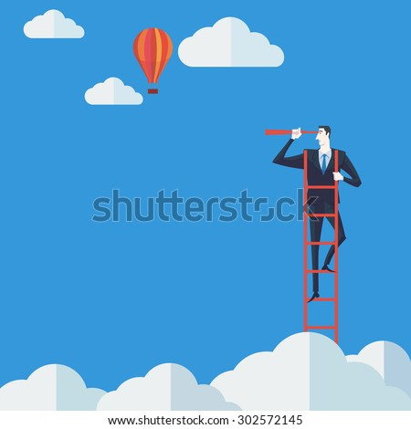 Businessman on a ladder using binoculars above cloud. Vector Illustration Business concept a ladder Corporate of success. - stock vector