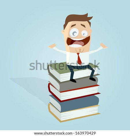 businessman on a stack of books