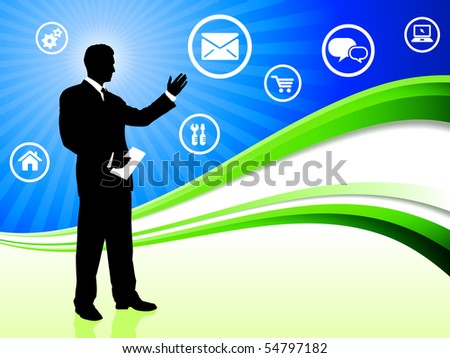 Businessman on Abstract Wave Background with Internet Icons Original Illustration