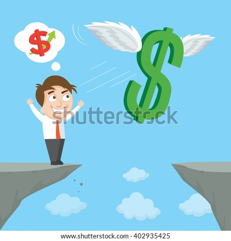 Businessman on edge of cliff and throw up winged money symbol, vector illustration - stock vector