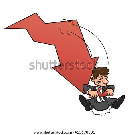 Businessman on falling down chart - stock vector