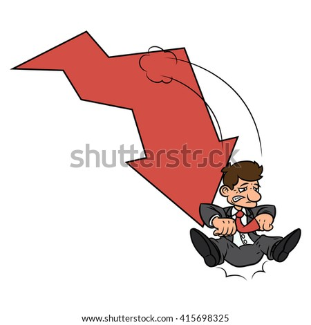 Businessman on falling down chart 2 - stock vector