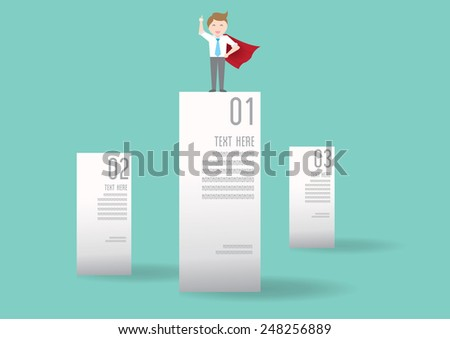 Businessman on graph, info graphic elements - stock vector