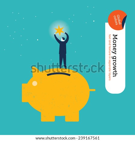 Businessman on money pig getting a star. Vector illustration Eps10 file. Global colors. Text and Texture in separate layers. - stock vector