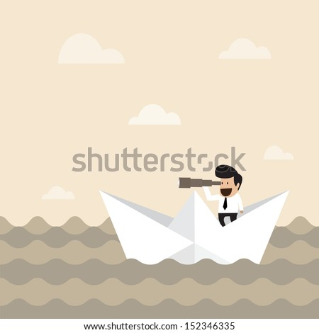 Businessman on paper boat searching for opportunity
