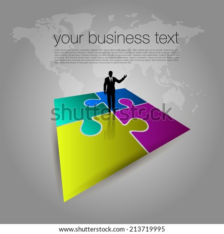 Businessman on Puzzle Toy - stock vector