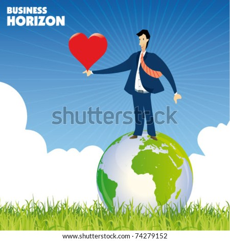 businessman on the globe - business concept - stock vector
