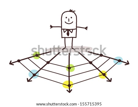 businessman on the web - stock vector