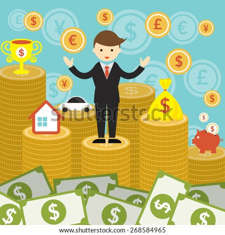 Businessman on Top of Gold Coins and Money, Business Marketing Banking Finance and Money - stock vector