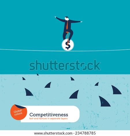 Businessman on unicycle on a tightrope with sharks. Vector illustration Eps10 file. Global colors. Text and Texture in separate layers. - stock vector
