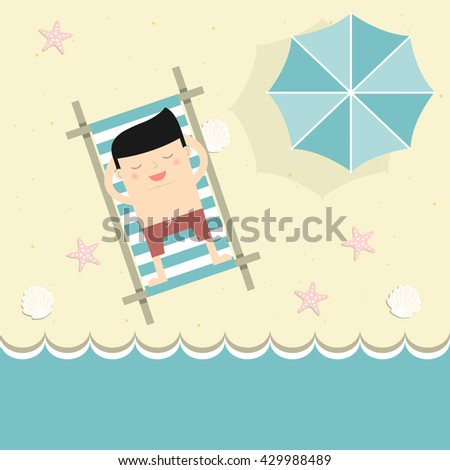 Businessman on vacation. A man sunbathes on a sea beach. Vector illustration.