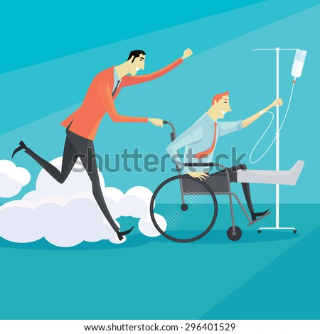 Businessman on wheelchair of an injured, full length portrait. Vector illustration business concept. - stock vector