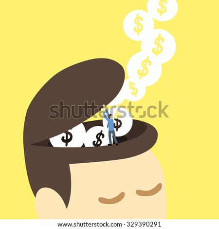 businessman open big head with flowing of dollar sign as idea to make money or profit - stock vector