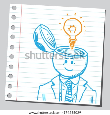 Businessman open headed with lightbulb (idea concept) - stock vector