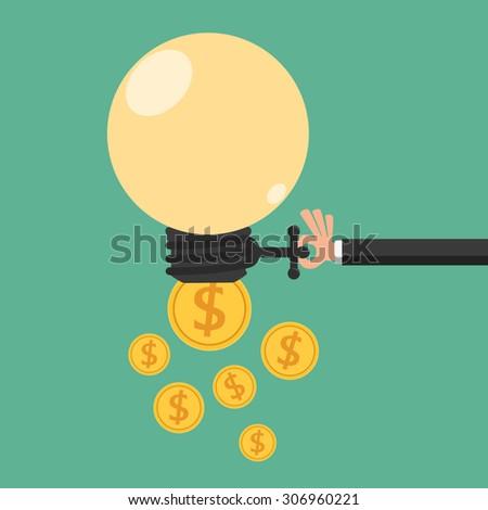 Businessman open idea exchange to money. Passive income concept. Cartoon Vector Illustration. - stock vector