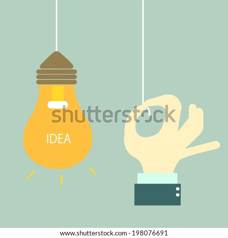 businessman open switch of idea. - stock vector