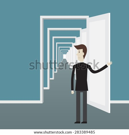 Businessman open the door - Vector