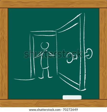 businessman opening the door - stock vector