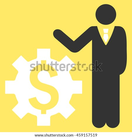 Businessman Options vector icon. Style is flat symbol, white color, yellow background. - stock vector