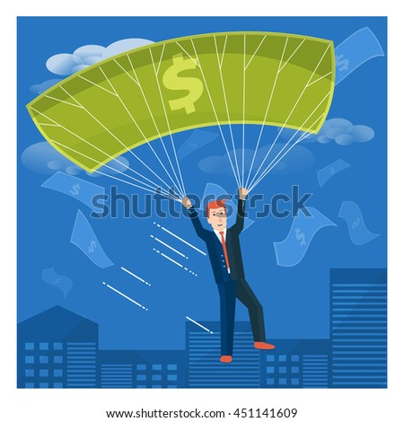 Businessman or broker flying with dollar parachute over the city. Business success or money-making vector concept illustration. - stock vector