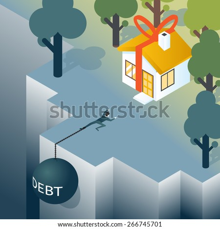 Businessman or consumer with debt weight is climbing out of the abyss. House and debt, mortgage and real estate. Vector illustration - stock vector